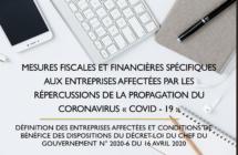 Mesures fiscales et financières spécifiques aux entreprises affectées par les répercussions de la propagation du coronavirus « covid – 19 »